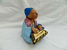 "Egyptian Real Life Clay Figurine Collectible HandMade Man Playing Qanoun 5"""