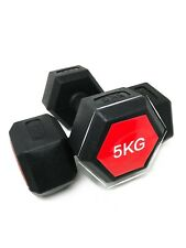 E-Deals Hexagon Dumbbells 2x5 Kg Set Fitness Exercise Weights Aerobic Home Gym