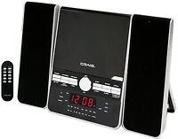 CRAIG 3-PIECE CD SHELF SPEAKER SYSTEM DUAL ALARM CLOCK AM/FM STEREO RADIO REMOTE