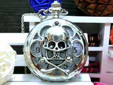 Antique Skull orchid hollow silver charm steampunk pocket watch necklace..