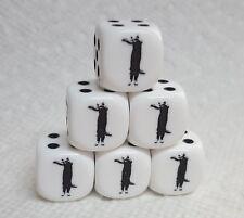 Dice - Set of 6 - 16mm Opaque White w/Black Long Cat meme as #6 - 20% Discount!