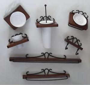 Kit a muro accessori bagno arte povera in legno e ferro arredo bagno classico