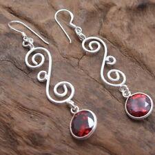 .925 Silver Drop Earrings Long Swirl&10mm Red Cz