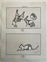 Jugendstil Entwurf Skizze Studie 98 & 99 Art-Nouveau Katze und Maus Hasen Buch?