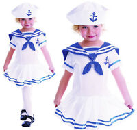 Childrens Kids White Sailor Girl Fancy Dress Costume Nautical Outfit 2-3 Yrs