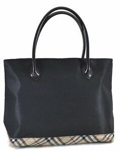 Authentic Burberry BLUE LABEL Check Hand Bag Nylon Leather Black C8681