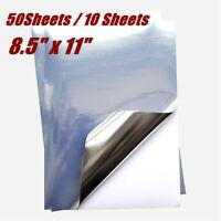 "8.5""x11"" Glossy Silver Blank Printable Sticker with Self-Adhesive Inkjet Printer"