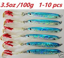 1-10 pcs Knife jig 3.5oz/100g Blue Vertical Speed saltwater fishing lures