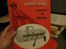 INTERNATIONAL 30 WHEEL RAKE OPERATOR'S MANUAL NEW