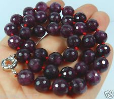 """beautiful 10mm round Faceted Garnet gemstone Beads Necklace 18"""""""