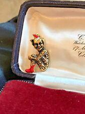 Vintage Spanish Damascene Gold ~ Red & Black Enamel Pixie Imp Pin Brooch unusual