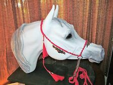 HANDMADE MACRAME` ARABIAN HORSE SHOW HALTER & LEAD, RED with SILVER DANGLES