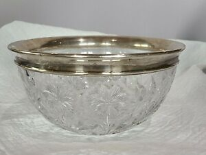 "ANTIQUE CUT GLASS BOWL ♡  STERLING SILVER MOUNT RIM ♡ HEAVY ♡ 8.25"" DIAMETER"