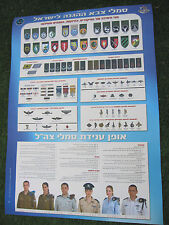 ISRAEL IDF ARMY : OFFICIAL COLORED POSTER - ZAHAL SIGNS, EMBLEMS,PATCHES,RANKS
