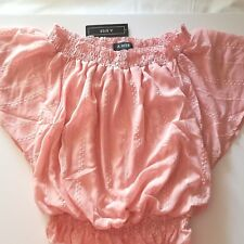 f82cb192f4a098 A. Byer Juniors Off The Shoulder Smocked Top Rose Size Large