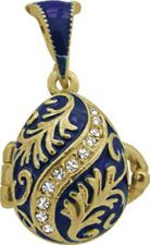 Faberge Egg Pendant / Charm with crystals 2.2 cm blue #2-1016