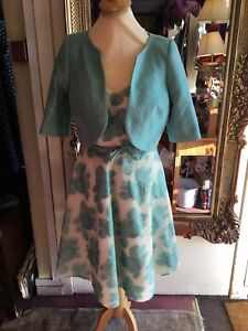 ladies turquoise Flower Print Mother Of The Bride Outfit By Sonia Pena Size 10