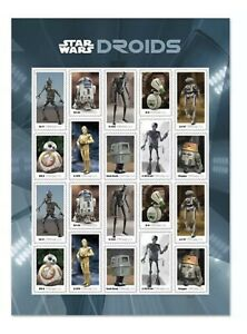 USPS Star Wars Droids Stamps - Pane of 20 [Bulk Discount]