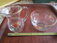 Glass milk or cream jug and sugar bowl set - for strawberries?