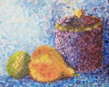 Still Life Oil Painting Original POINTILLIST FRUIT Monet Style Seurat signed art