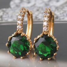 Luxury woman wedding 24k Yellow gold filled emerald HOT SALE leverback earring