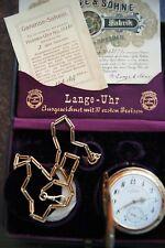 A.Lange & Söhne 585/14K Gold Taschenuhr, Savonette, Kauf 1918 Box, Papiere