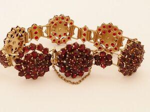 Real Bohemian Garnet Bracelet - Beautiful deep stones - Antique Victorian