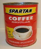 Vintage 1970s SPARTAN COFFEE GRAPHIC 3 POUND COFFEE TIN GRAND RAPIDS MICHIGAN MI