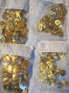 144 Vintage Gold Tone Metal Button Flower Swirl Stripe Size 30, 36, 45, Lot 1