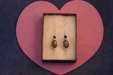 Silver Earrings With Unakite And Garnet 8 GR 2.7 x 1.2 Cm.Wide + Hooks In  Box