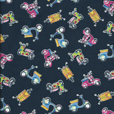 Fat Quarter Mopeds  Scooters Cotton Quilting Fabric 50cm x 55cm  Navy Blue