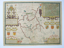 Bedfordshire: antique map by John Speed, 1676