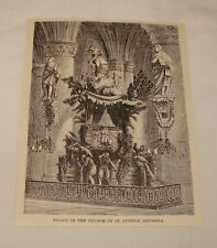 1887 magazine engraving ~ PULPIT IN CHURCH OF ST GUDULE, Brussels