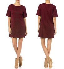 Miss Me Women's Suede Velvety Crew Neck Found Paradise Dress Red Wine MDD306S