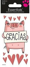 Scrapbooking Crafts Stickers Cute Pink Pig Gracias Hearts Spanish Thank You