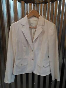 Banana Republic Women's White Linen Blend Stretch Lined Blazer / Jacket Size 2