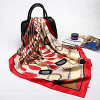 "Women's Red Silk-Satin Square Scarf Fashion Geometric Printed Shawl Wrap 35""*35"""