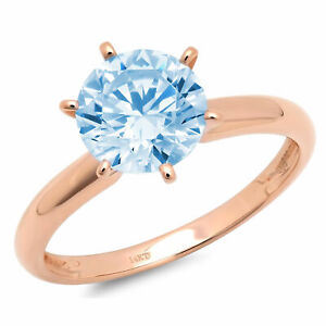 3 ct Round Sky Blue Topaz 14K Rose Gold Solitaire Wedding Promise Bridal Ring