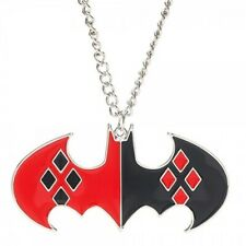 DC Comics Batman Harley Quinn Red and Black Logo Necklace NEW UNUSED