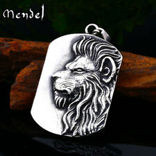 MENDEL Vintage Mens Stainless Steel Lion King Head Pendant Necklace Men Silver