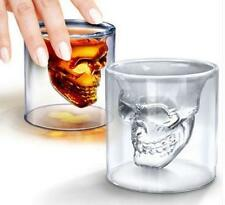 Double Layer Clear Glass Skull Head Cup Crystal Drinking Bar Ware Shot Glasses