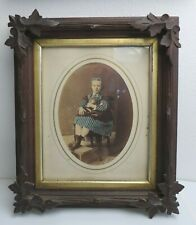 Victorian blue stripped girl & cat hand tinted photograph carved wood frame