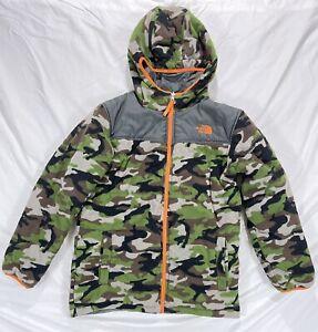 North Face Camouflage Green Gray Reversible Fleece Jacket Coat Boys Large XS Men