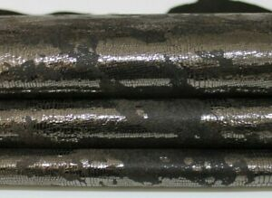 METALLIC PEWTER REPTILE DISTRESSED Goatskin leather skin 7sqf 1.1mm #A7271