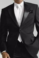 Black Jacket+Black Pants+White Vest 3 Pieces Wedding Best Man Tuxedo Custom Made