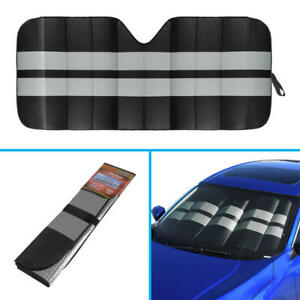 Large Jumbo Double Layer Bubble Car Windshield Sun Shade Cover Block- Black/Gray