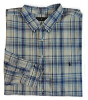 $115 Men Polo Ralph Lauren Pony Plaid Long Sleeves Classic Fit Dress Shirt 4XLT