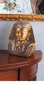 TUTANKAMON EGIZIANO CERAMICA FOGLIA ORO SCULTURA STATUA SOPRAMMOBILE ARREDO CASA