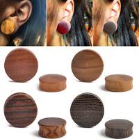 PAIR-CONVEX ARENG WOOD PLUGS -ORGANIC FLESH TUNNELS-EAR GAUGES-EAR PLUGS