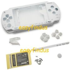 For PSP 1000 Full Housing Shell faceplate Case sticker button replacement white
